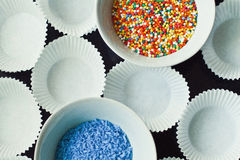 Cukier kropi na talerzach Zdjęcie Royalty Free