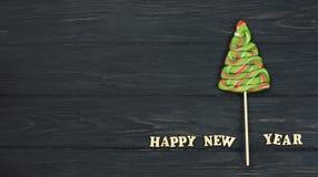 Cukierek choinka z listami szczęśliwy nowy rok Zdjęcie Stock