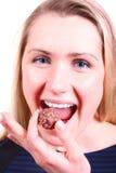 cukierek czekolada je iść kobieta Zdjęcia Royalty Free