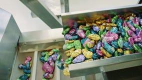 Cukierek fabryka Wiązka zawijający cukierki spada od konwejeru na kocowanie zbiornikach w ciasteczko fabryce zdjęcie wideo
