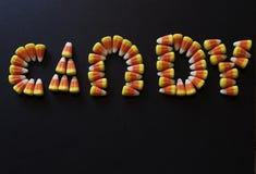Cukierek literujący z cukierek kukurudzą Zdjęcia Stock