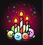 Cukierek trzciny świeczki z boże narodzenie ornamentami Xmas zabawki, cukrowy kij dekoracyjny royalty ilustracja