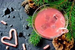Cukierek trzciny ajerówka, tradycyjny boże narodzenie alkoholu napój fotografia stock