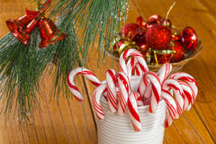 Cukierek trzciny przy bożymi narodzeniami Zdjęcie Royalty Free