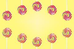Cukierek Ustawiający kolorowy na tle obrazy stock