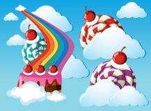 Cukierek ziemia z lizakami i tęczą w niebie royalty ilustracja