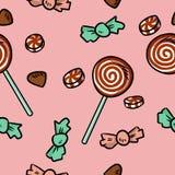Cukierków i cukierków śliczny bezszwowy wzór Ręka rysująca boże narodzenie kreskówka doodles tło royalty ilustracja