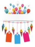Cukierków rożków sztandaru balonów ceny majchery Obrazy Stock