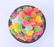 Cukierki galaretowi cukierki w pucharze na tle galaretowi cukierki wewnątrz Obrazy Stock