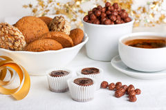 Cukierki i herbata Obraz Stock