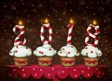 Cukierki i torta nowy rok ilustracja wektor