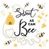Cukierki jak może pszczoła sztandaru pszczoła na białego tła sztandaru Ślicznym projekcie dla dziecko prysznic dzieciaków urodzin royalty ilustracja