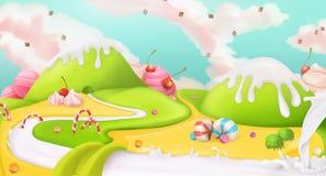 Cukierki krajobrazowy tło ilustracji