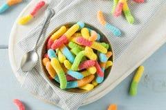 Cukierki Kwaśne Neonowe Gumowate dżdżownicy Obrazy Royalty Free