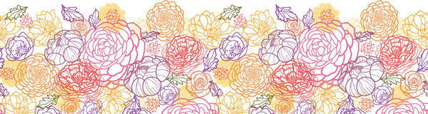 Cukierki kwitnie horyzontalnego bezszwowego wzór Fotografia Royalty Free