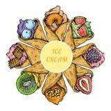 Cukierki lodowego creme karmowy deserowy cukierek ilustracja wektor