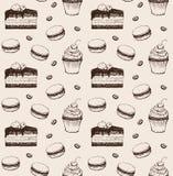 Cukierki piekarni ręka rysujący deseniowy bezszwowy royalty ilustracja