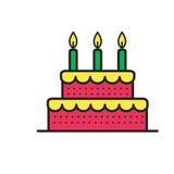 Cukierki tort dla urodzinowego wakacje przygotowywa ikonę Obrazy Stock