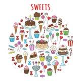Cukierki ustawiający wektorowa ręka rysujący ikony doodle Zdjęcie Royalty Free