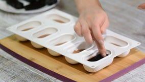 Cukierki w krzem foremkach Przygotowywa małych torty z galaretą zbiory wideo