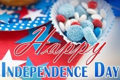 Cukierki z gwiazdową dekoracją na dniu niepodległości fotografia royalty free