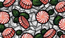 Cukierki z nowymi liśćmi na kostki lodu tle Zdjęcie Stock