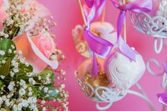 Cukierku bar Menchii róży menchii tło Walentynka dnia tło Zdjęcia Royalty Free