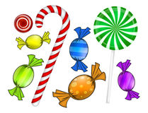 Cukierku bożenarodzeniowy set Kolorowy zawijający cukierki, lizak, trzcina Wektorowa ilustracja odizolowywająca na biały tle Obrazy Stock