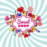 Cukierku cukierki sklepu szablon ustawiający różni kolory cukierek, cukierek, cukierki, czekoladowy cukierek, galaretowe fasole z royalty ilustracja