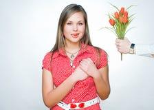 cukierku dziewczyny szczęśliwy serce kształtujący Obrazy Royalty Free