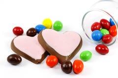 Cukierku i serca czekolada Zdjęcia Stock