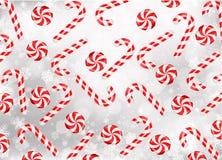 Cukierku lizak z płatkami śniegu i trzcina ilustracja wektor