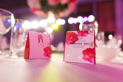 Cukierku pudełko przy ślubem Zdjęcie Royalty Free