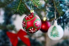 cukierku trzciny bożych narodzeń ornamentu śniegu drzewo Zdjęcia Stock