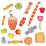 cukierków ciastka ustawiający cukierki Obrazy Royalty Free