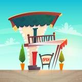 Cukierniana restauracji lub sklepu kreskówki stylu średniowieczna dachowa tawerna z białą czerwienią paskuje baldachim szyldowa d royalty ilustracja