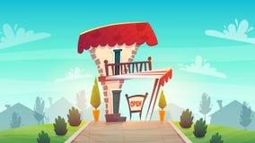 Cukierniana restauracji lub sklepu kreskówki stylu średniowieczna dachowa tawerna z białą czerwienią paskuje baldachim szyldowa d ilustracji