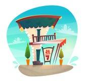 Cukierniana restauracji lub sklepu kreskówki stylu średniowieczna dachowa tawerna z białą czerwienią paskuje baldachim szyldowa d ilustracja wektor