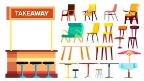 Cukiernianego meble Ustalony wektor _ Wewnętrznego projekta meble element Stół, krzesło Chodniczków bistra Odosobniona kreskówka royalty ilustracja