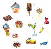 cukiernianego projekta pomysłu ładni restauracyjni ustaleni cukierki Fotografia Stock