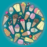cukiernianego projekta pomysłu ładni restauracyjni ustaleni cukierki ilustracja wektor
