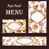 Cukierniany menu z ręka rysującym projektem Deserowy restauracyjny menu szablon Set karty dla korporacyjnej tożsamości również zw Fotografia Royalty Free