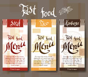 Cukierniany menu z ręka rysującym projektem Fasta food menu restauracyjny szablon Set karty dla korporacyjnej tożsamości również  Obrazy Stock