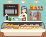 Cukiernianych sklep z kawą kobiety sprzedawcy piekarni smaku biznesowych wewnętrznych żeńskich cukierków projekta wektoru płaska  ilustracji