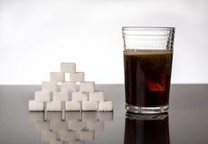 Cukieru i koli niezdrowy napój Obrazy Stock