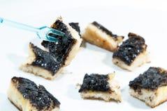 Cukieru i masła grzanka przeciw tłu Fotografia Stock