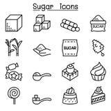 Cukrowa ikona ustawiająca w cienkim kreskowym stylu Obraz Royalty Free