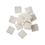 Cukrowi sześciany na białym tle, zamykają up Zdjęcie Royalty Free