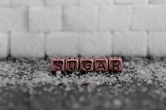 Cukrowi sześciany z słowo cukierem na koralikach Zdjęcia Royalty Free