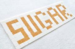 Cukrowi sześciany w teksta formacie Obraz Royalty Free